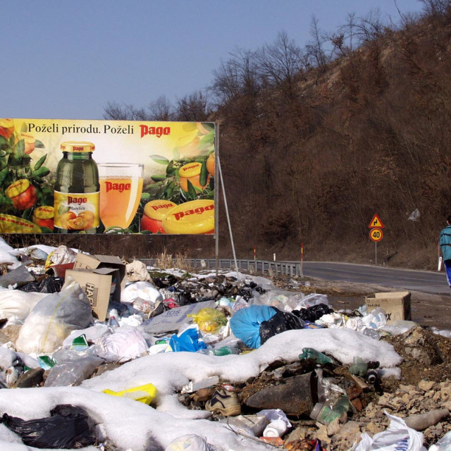 """garbage next to the road"" stock image"