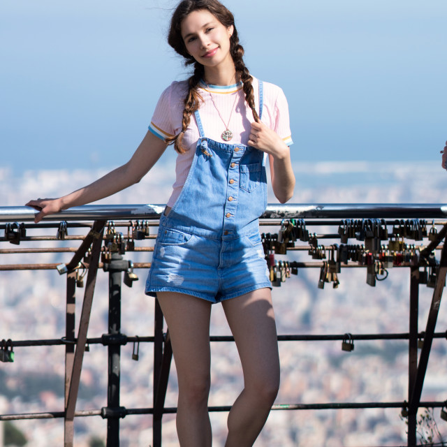 """Jessica P :: On Top of Barcelona"" stock image"