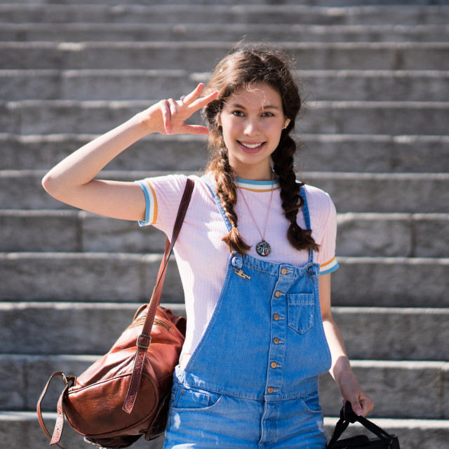 """Jessica P :: Sweetie Going Down the Stairs"" stock image"