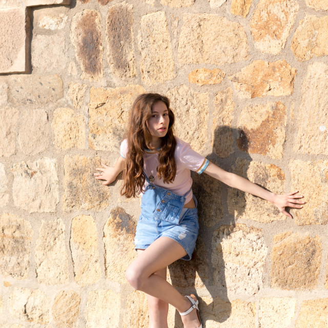 """Jessica P :: Young Sweetie by the Bricked Wall"" stock image"
