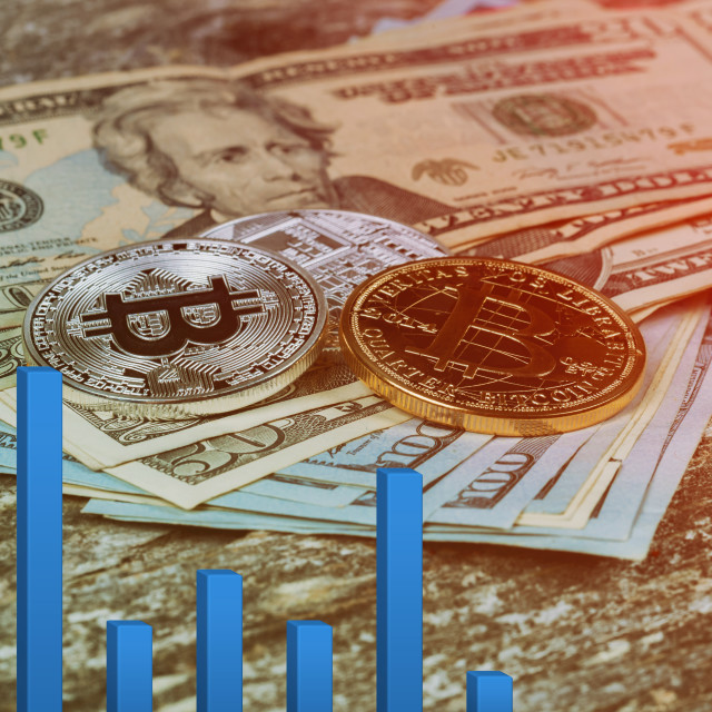 """bitcoin bubble risk of collapse concept Electronic money exchange concept US dollar bitcoins"" stock image"