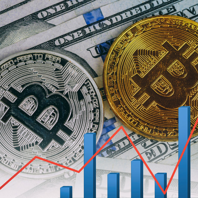 """bitcoin bubble risk of collapse concept"" stock image"