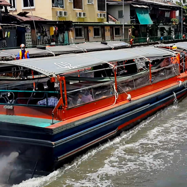 """""""Water taxi on a canal"""" stock image"""