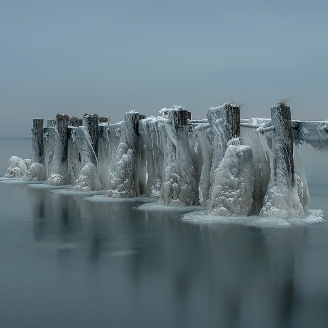 """Old Frozen Pier"" stock image"