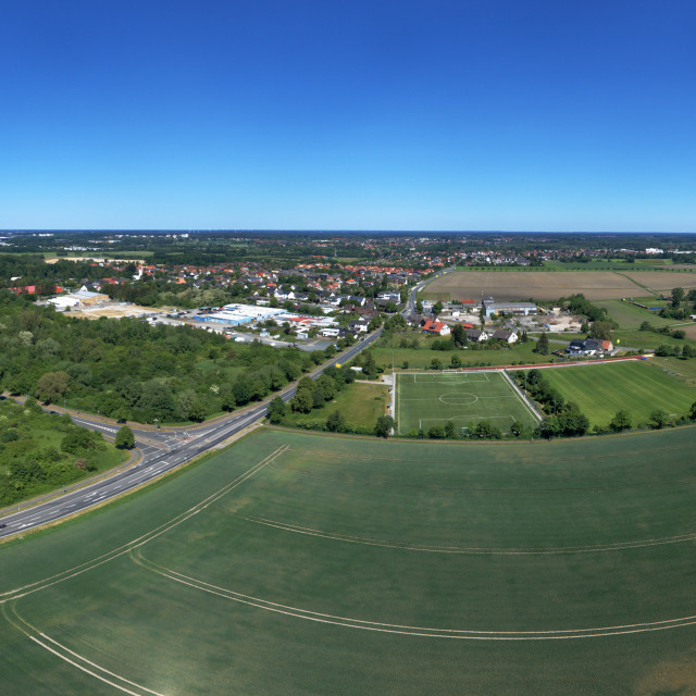 """""""Aerial view of the eastern edge of Wolfburg, with fields and meadows in the..."""" stock image"""