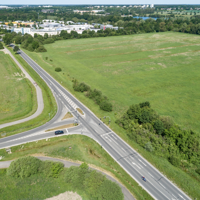 """""""Aerial view of the turn-off of a ring road with the houses of the dominion in..."""" stock image"""