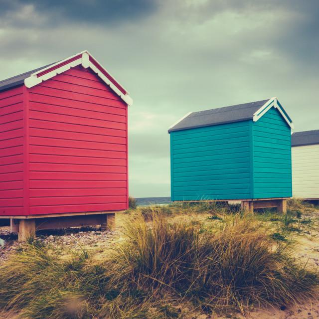 """""""British Retro Beach Huts"""" stock image"""