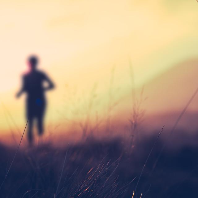 """""""Hill Runner At Sunset"""" stock image"""