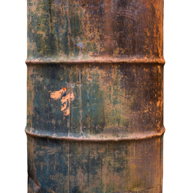 """""""Isolated Rusty Old Barrel"""" stock image"""