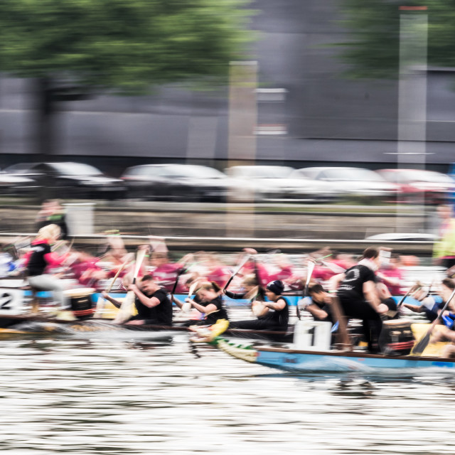 """Intentionally blurred dynamic image of a dragon boat race, motion blur"" stock image"