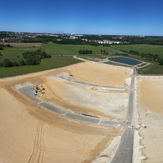 """""""Large construction site with the sand planum for a new development and a rain..."""" stock image"""