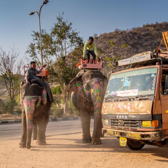 """Elephants And Truck 1."" stock image"