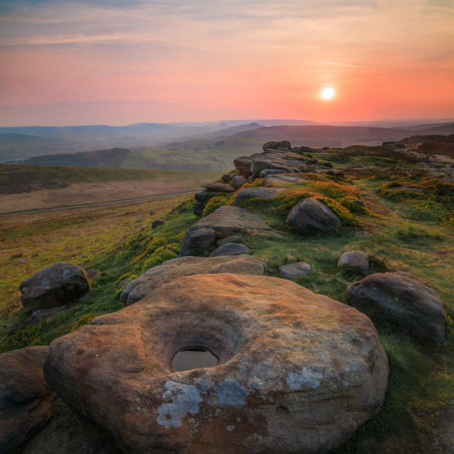 """Sunset at Stanage Edge"" stock image"