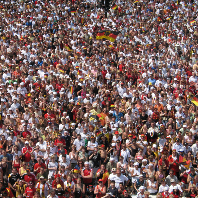 """High shot of crowd in fan zone in Berlin at the 2006 Football Wo"" stock image"