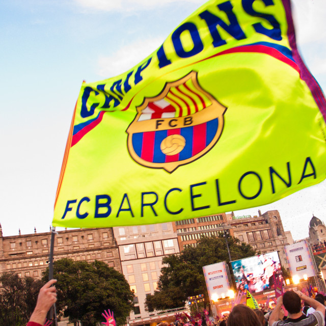 """FC Barcelona Champions flag"" stock image"