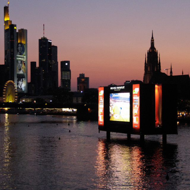 """Unique big screen on the river in the Frankfurt fan zone during the 2006 Football World Cup in Germany"" stock image"