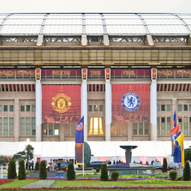 """Banners outside the Luzhniki stadium ahead of the 2008 UEFA Champions League Final between Manchester United and Chelsea in Moscow"" stock image"
