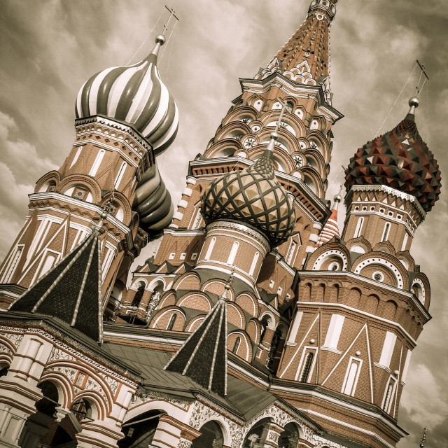 """Angled view of roof and towers of St.Basil's Cathedral, Moscow,"" stock image"
