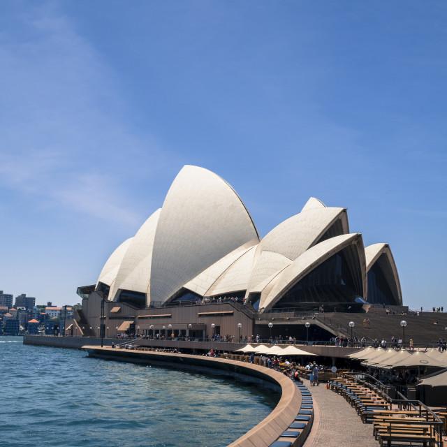 """Sydney Opera House and Opera Bar, Sydney Harbour, Sydney, New South Wales, Australia,"" stock image"