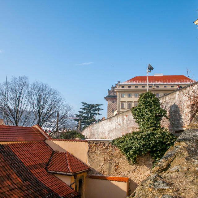 """""""Hradcany. Prague Castle and part of New Castle Staircase"""" stock image"""