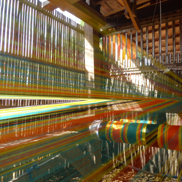 """""""Traditional silk weaving in Indonesia"""" stock image"""
