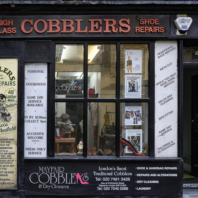 """Traditional Cobbler in London"" stock image"