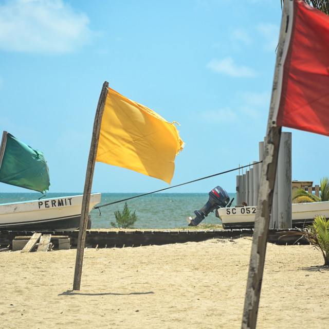 """Colourful flags in the sand on a beach"" stock image"