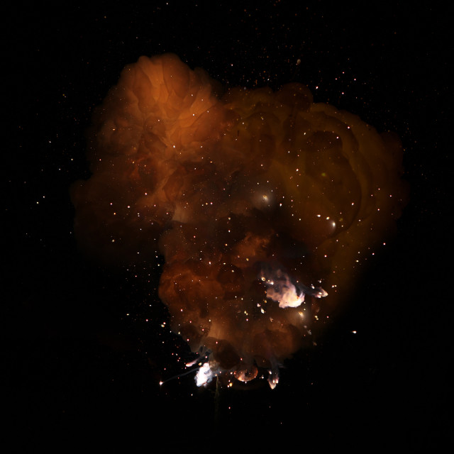 """Realistic fiery bomb dark explosion with sparks and smoke isolated on black background"" stock image"