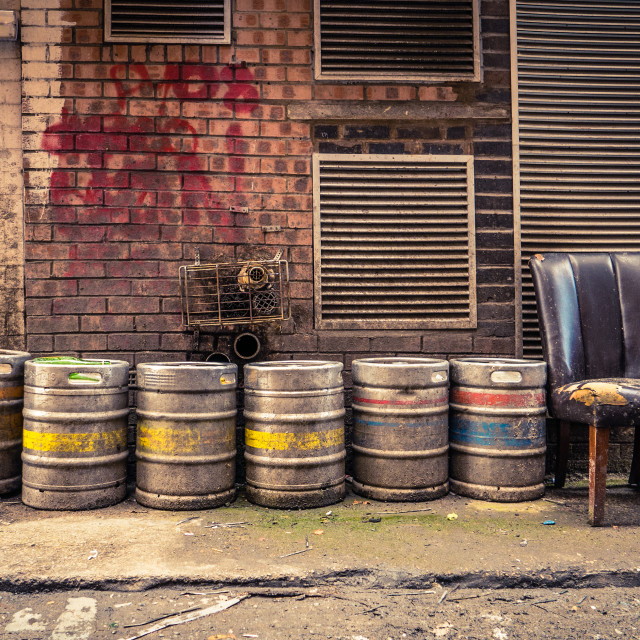 """Bar Alley Beer Barrels"" stock image"