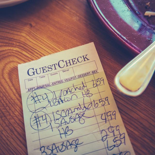 """Breakfast Diner Check"" stock image"