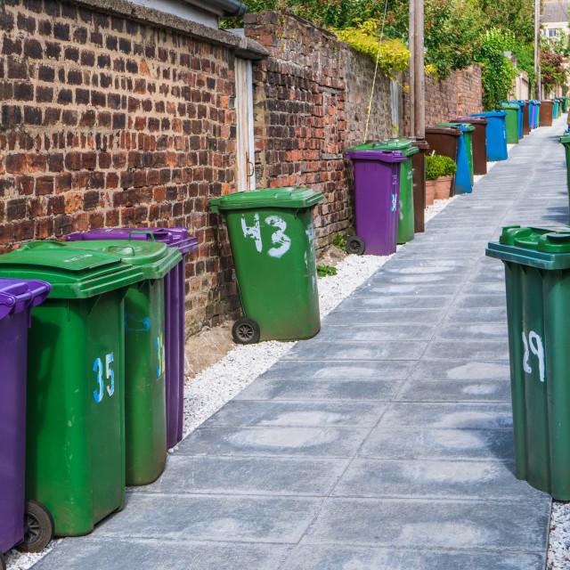 """British Alleyway Bins"" stock image"