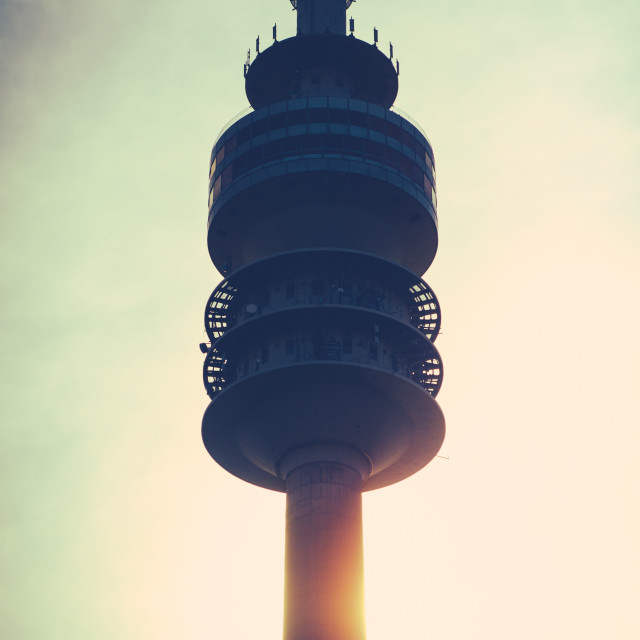 """""""Communications Tower At Sunset"""" stock image"""