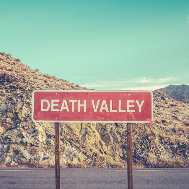 """""""Death Valley Sign"""" stock image"""