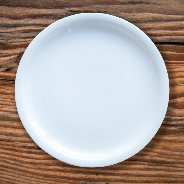 """""""Empty White Plate On Table"""" stock image"""