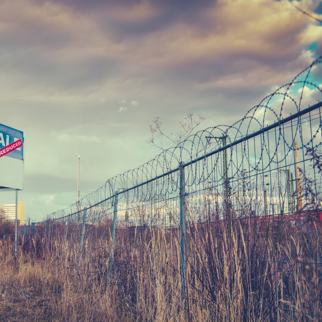 """""""For Sale Sign On Urban Wasteland"""" stock image"""