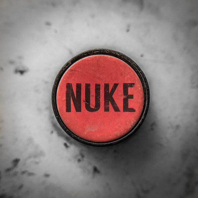 """Red Nuke Button"" stock image"