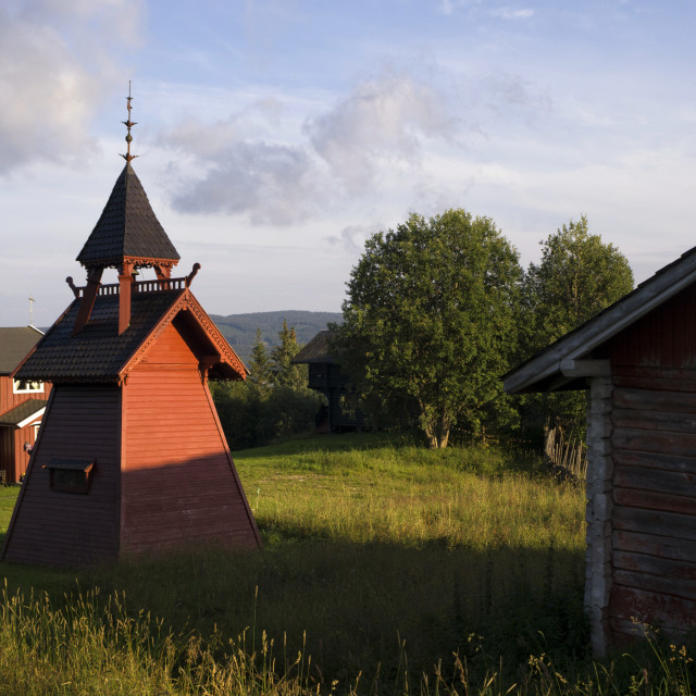 """""""Bell tower on a Norwegian farm"""" stock image"""