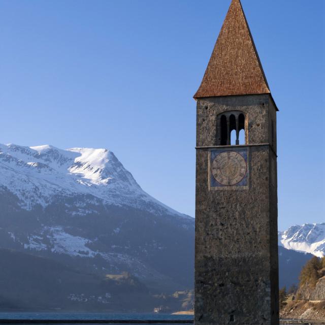 """Church tower in lake Reschen"" stock image"