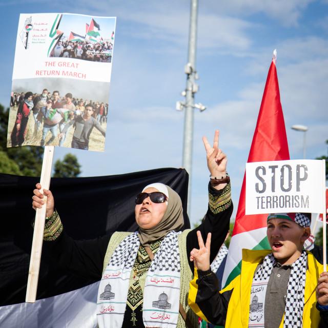 """Palestine Solidarity Rally / anti-Israel demonstration in Geneva"" stock image"