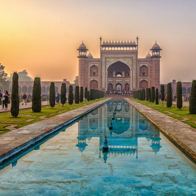 """Taj Mahal Sunrise 1."" stock image"