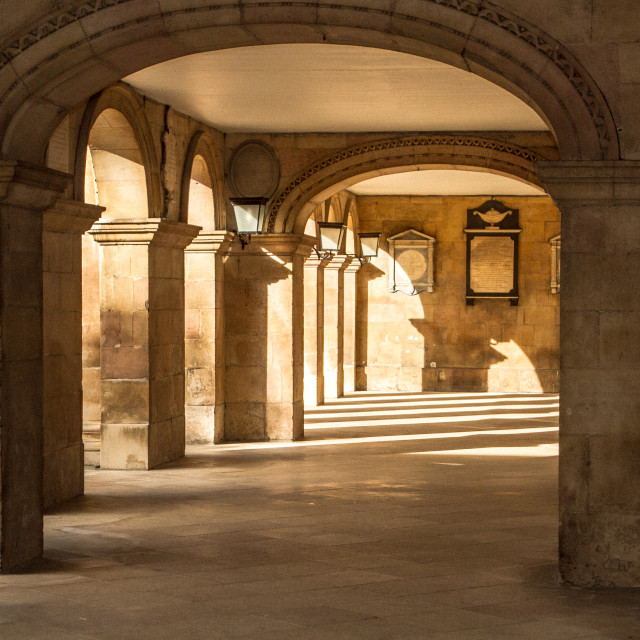 """Cloisters at Emmanuel College, Cambridge,UK"" stock image"