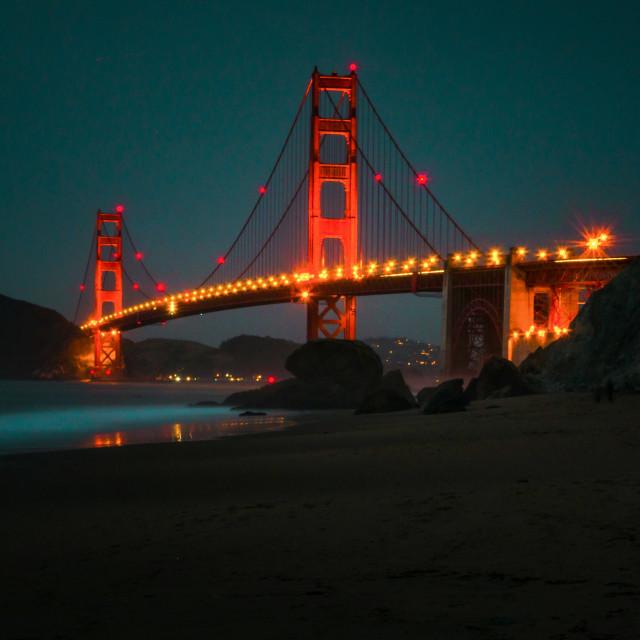 """""""Golden Gate bridge at night"""" stock image"""