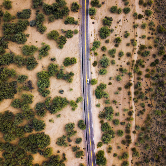 """Desert road with bushes and cactuses aerial"" stock image"
