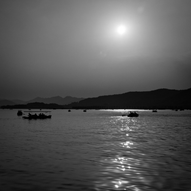 """Boats on West Lake"" stock image"