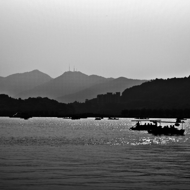 """Shadows on West Lake"" stock image"