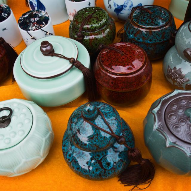 """""""Tea Pots for Sale 4"""" stock image"""