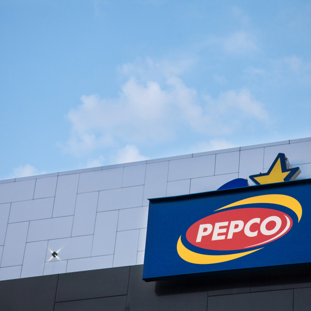 """""""VUKOVAR, CROATIA - MAY 12, 2018: Pepco Logo on their main shop in Vukovar. belonging to Pepkor, Pepco is a Polish brand of store offering discounts on clothing and houseware items"""" stock image"""
