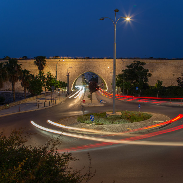 """Heraklion's city walls at Night"" stock image"