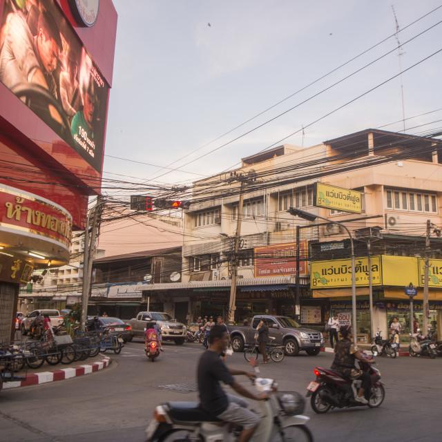 """THAILAND ISAN SURIN CITY STREET CORNER"" stock image"