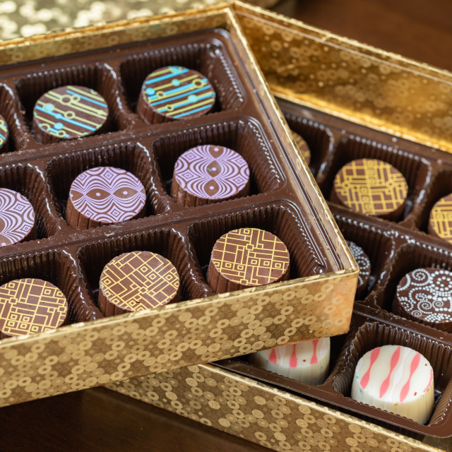 """Decorative Box of Artisan Fine Chocolate Candy"" stock image"